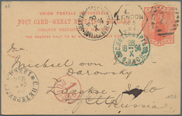 Großbritannien - Ganzsachen: 1894, 1 Penny Orange Postal Stationery Card From London To Russia With - 1840 Mulready-Umschläge