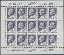 Jugoslawien: 1967, Geburtstags-Ausgabe Tito, Marke Zu 0.15 (Din) Postfrischer Kleinbogen Zu 15 Marke - 1919-1929 Königreich Der Serben, Kroaten & Slowenen