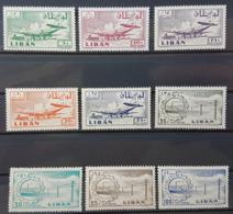LC- Lebanon Plane At Khalde Airport & Industry Complete Set 9v. MNH - Lebanon