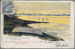 "Norwegen - Privatpost Spitzbergen: 1904, 10ö. Slate ""POLARPOST"", Vignette On Coloured Spitzbergen Pp - Emissioni Locali"