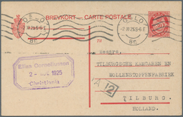 Norwegen - Ganzsachen: 1924, 30 Öre Ganzsachenkarte Gebraucht Ab OSLO Nach Holland/Niederlande (Mi. - Interi Postali