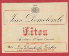 Etiquette -France - Fitou - 1980 - - Etiquetas