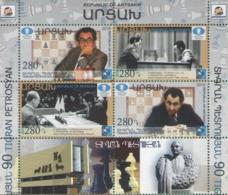 Artsakh - Armenia - Nagorno Karabakh 2019 BLOCK + Coupons Chess 90th Anniversary Tigran Petrosyan Petrosian MNH** - Armenia