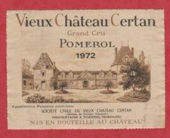 Etiquette -France - Pomerol - 1972 - Vieux Château Certan. Brrrrr - Etiquetas
