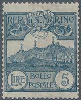 San Marino: 1903, 5 L Blue Mint Never Hinged - San Marino