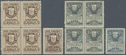 San Marino: 1907, 1 C Sepia And 15 C Grey-green Type II In Blocks Of Four (prefolded) And Single Sta - San Marino