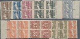 San Marino: 1921, Defenitives, Sassone 69/81 Mint Never Hinged In Blocks Of Four. Catalogue Value Fo - San Marino