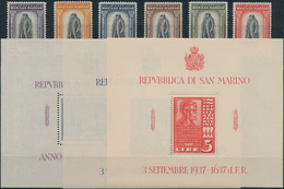 San Marino: 1935/1938, Year Sets. Sassone 186/212+A17/18 Mint Never Hinged. Catalogue Value 1026 €. - San Marino