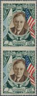 San Marino: 1947, Franklin D. Roosevelt 5l. Airmail Stamp Vertical Pair IMPERFORATE BETWEEN, Mint Ne - San Marino