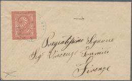 San Marino - Stempel: 1863: Forerunner, 2 Cents Brick Red, Turin Printing, Tied By Blue Double Circl - San Marino