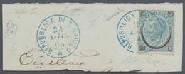 "San Marino - Stempel: 1865, 20 C On 15 Cmi Blue Cancelled With Blue Double Circle ""REPUBLICA DI S. M - San Marino"