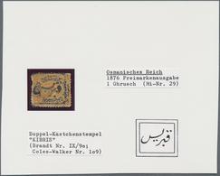 """Zypern - Vorläufer: 1876, """"KIBRIS"""" All Arabic Box Type Cancellation (Brandt Type IX/109) On Turkey 1 - Cipro"""