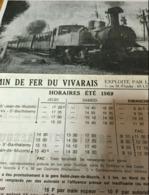 HORAIRE 1969 CHEMIN DE FER VIVARAIS Document Original 21 X 27 Cm - Europe
