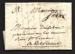 Landes-Lettre Avec Marque DAX + Franc Manuscrit-1784-Pour Bordeaux - Marcophilie (Lettres)