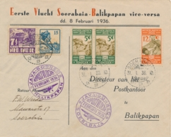 Nederlands Indië - 1936 - 5 Zegels Op 1e Vlucht Van Soerabaja Naar Balikpapan En Terug - Speciale Envelop - Nederlands-Indië