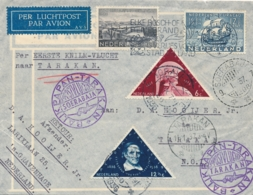 Nederlands Indië - 1937 - Nederlandse Post 1e KNILM Vlucht Van Den Haag Naar Soerabaja Naar Tarakan En Terug - Nederlands-Indië