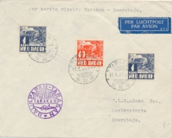 Nederlands Indië - 1937 - 3 Zegels Op 1e KNILM Vlucht Van Tarakan Naar Soerabaja - Niederländisch-Indien