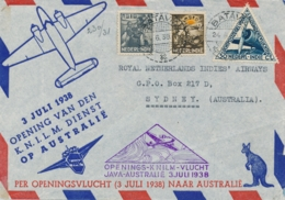 Nederlands Indië - 1938 - 3,5 & 2 Cent ASIB Op 1e KNILM Vlucht Van Batavia Naar Sydney / Australia - Nederlands-Indië