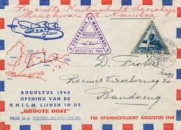 Nederlands Indië - 1940 - Groote Oost Envelop Met 1e KNILM Vlucht Soerabaja - Manokwari -- Trajectpost Naar Namlea - Nederlands-Indië