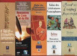 *243*  BALMA SALON DES LITTERATURES FRANCOPHONES RENCONTRE DU LIVRE ET DU VIN -  SERIE 3 MARQUE PAGE - Marque-Pages