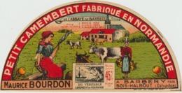 étiquette De Fromage:  Camembert  :étiquette Demi Cercle : BARBERY , M. Bourdon , Bois  Halbout - Fromage