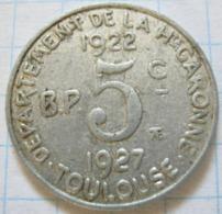 Toulouse 5 Centimes 1922 / 1927 - France
