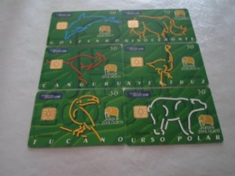 SERIE OF 6 CHIPCARD PORTUGAL PUZZLE- ZOO LISBOA - EX: 13.000 - NEW/NOT USED - Portugal