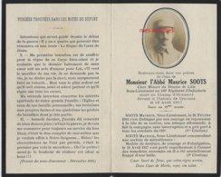 Guerre 1914-mort  Pour La France En 1917 Craonne-Abbé Maurice SOOTS-Diocèse De Lille-110e R Infanterie Né En Flandres - Décès