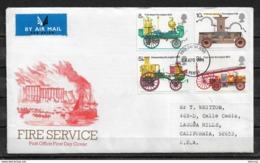 GB-UK 1974 Cachet FDC Fire Service History, Fire Motor Vehicles,VF-XF !! (NR-7) - Firemen