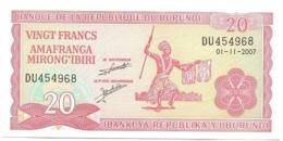 Burundi 20 Amafranga 1-11-2007 Pk 27 D.6 UNC Ref 271-1 - Burundi