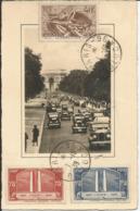 1936 - N° 316 Et 317 + 315 Oblitérés (o) Sur Carte PARIS - France
