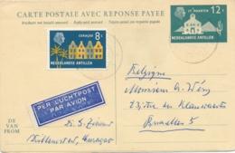 Curacao - 1961 - 12 + 12 Cent St Maarten, Briefkaart G44 + 8 Cent Van KB Curacao/Willemstad Naar Brussel / België - Curaçao, Nederlandse Antillen, Aruba
