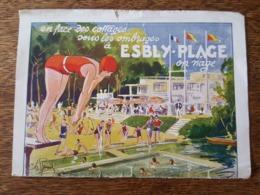 Horaires Des Trains - Service été 1935 - Esbly Plage Illustré Par Ch. Roussel - MM. Grosjean, Beaudout, Taylor, Natation - Europe