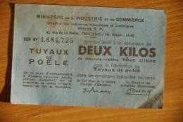 Rationnement - Ocrpi 2kg Tuyaux De Poele / Billet Matiere - Documenti Storici