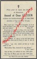 Guerre 1940-victimes Civiles Bombardement Du 27 Mai 1940- Bailleul (59) -Amand Et Omer GELOEN - Décès