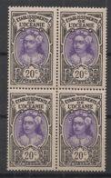 Océanie - 1913-15 - N°Yv. 27 - Tahitienne 20c - Bloc De 4 - Neuf Luxe ** / MNH / Postfrisch - Unused Stamps