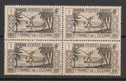 Océanie - 1939-49 - N°Yv. 84 - Pecheur 1c - Bloc De 4 - Neuf Luxe ** / MNH / Postfrisch - Unused Stamps