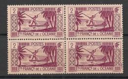 Océanie - 1939-49 - N°Yv. 85 - Pecheur 2c - Bloc De 4 - Neuf Luxe ** / MNH / Postfrisch - Unused Stamps