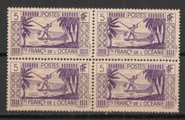 Océanie - 1939-49 - N°Yv. 88 - Pecheur 5c - Bloc De 4 - Neuf Luxe ** / MNH / Postfrisch - Unused Stamps
