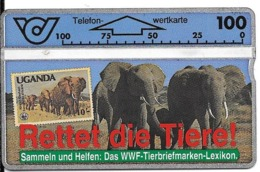 CARTE-HOLOGRAPHIQUE-AUTRICHE-WWF PROCTION Des ELEPHANTS -TBE-Tres RARE - Jungle