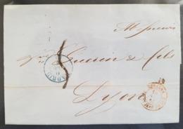 RHONE : Marque D'Entrée D'Espagne (Madrid) Pour Lyon - 1855 - Marcofilia (sobres)