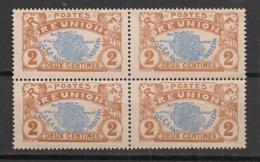 Réunion - 1907 - N°Yv. 57 - Carte De L'ile 2c - Bloc De 4 - Neuf Luxe ** / MNH / Postfrisch - Ongebruikt
