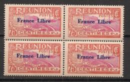 Réunion - 1943 - N°Yv. 188 - France LIbre 75c - Bloc De 4 - Neuf Luxe ** / MNH / Postfrisch - Réunion (1852-1975)