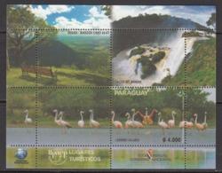 2018 Paraguay Tourism Flamingos Waterfalls Chutes Souvenir Sheet  MNH - Paraguay