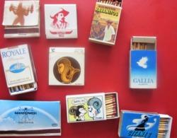 Tabac (objets Liés) 9 Boites D'allumettes - Étiquettes Rétro -cigarettes Gitanes-Havanitos-Royale-Gallia-humoristique- - Boites D'allumettes - Etiquettes