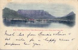 1904 , SUDAFRICA , TARJETA POSTAL CIRCULADA , CAPE TOWN , DEVIL'S PEAK , TABLE MOUNTAIN AND LION'S HEAD FROM TABLE BAY - Sudáfrica
