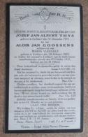 Jozef J.A. Thys, Lichtaert 14/12/1915 En Alois J.Goossens, Lichtaert 18/02/1905 - Ongeval Te Lichtaert 15 / 10 /1931 - Décès