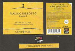 ITALIA - 2018 Etichetta Vino PLACIDO RIZZOTTO Bianco Di Sicilia - Associazione Libera, Terre Libere Dalle Mafie - Vino Bianco