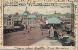 1905 , SUDAFRICA , TARJETA POSTAL CIRCULADA , ON THE NORTH JETTY LOOKING TOWARDS THE TOWN , PORT ELIZABETH , FERROCARRIL - Sudáfrica