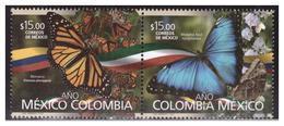 2018 MÉXICO - COLOMBIA EMISIÓN CONJUNTA SE-TENENT MNH MARIPOSAS,  MONARCH BUTTERFLY, AND BLUE BUTTERFLY, SET OF 2 MNH - México